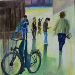 Eine Ausstellung mit dem Fahrrad
